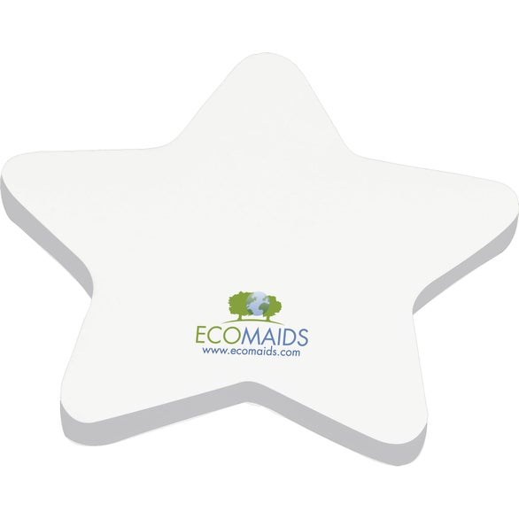 White Die Cut Adhesive Notepad - Star