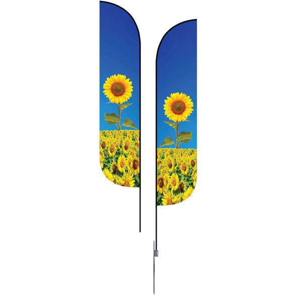 Full Color Imprint Extra Small Feather Flag Premium Double-Sided with With Spike Base