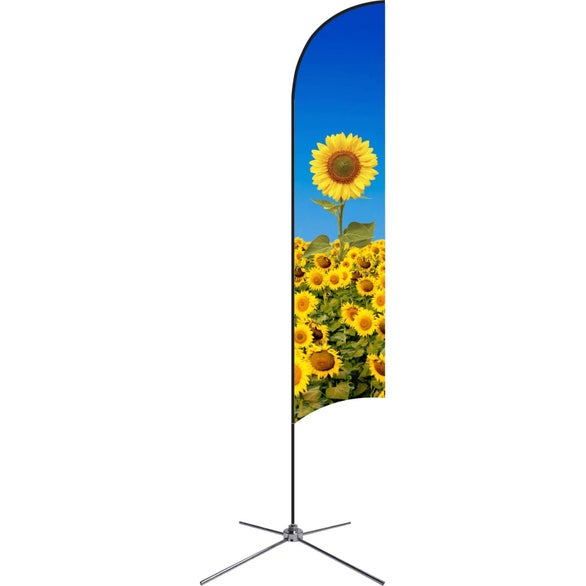 Full Color Imprint Large Single-Sided Feather Flag with Chrome X Base