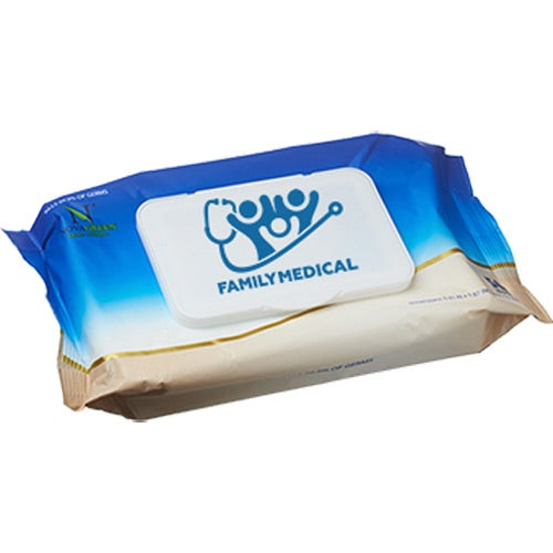 Blue / White Antibacterial Wet Wipes In Resealable Pouch