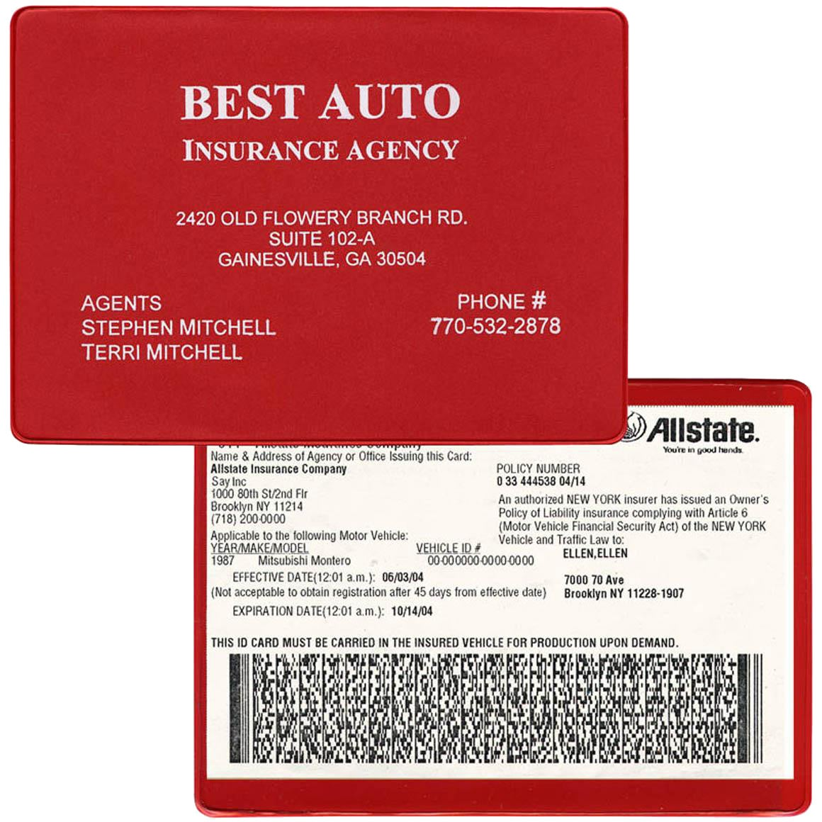 Click Here To Order Insurance Card Holders Printed With Your Logo