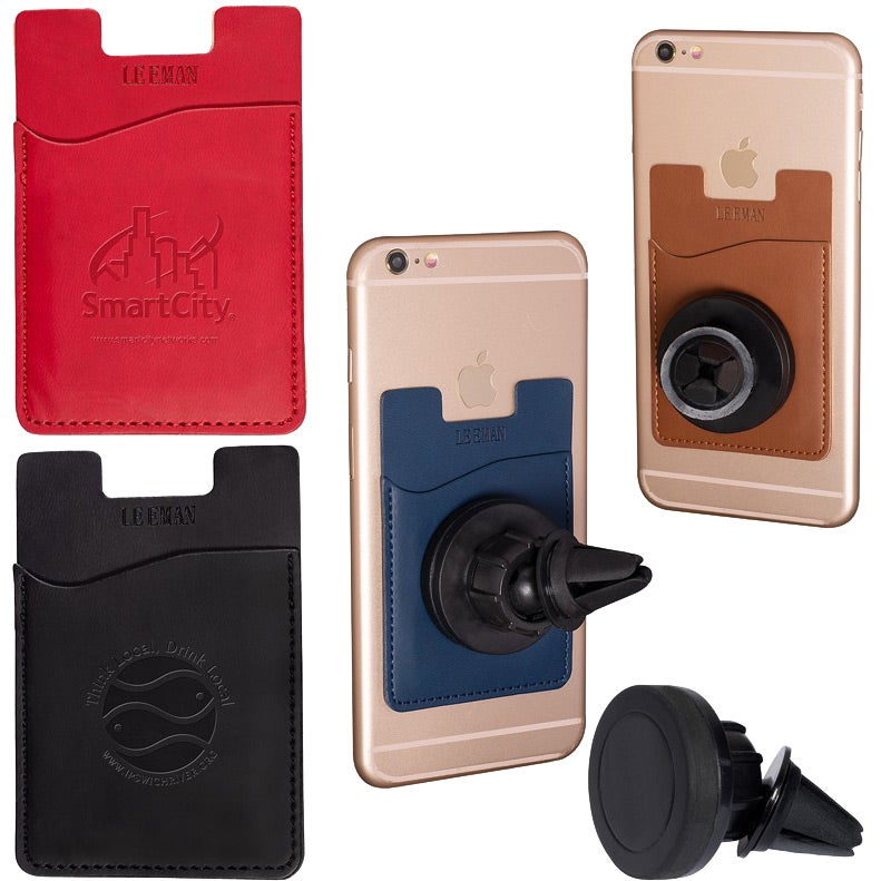Tuscany Magnetic Auto Phone Holder with Pocket