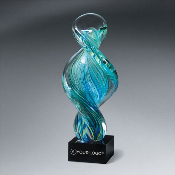 Green, Blue, and Clear with a Black Base Art Glass Spiral Award on Black Glass Base