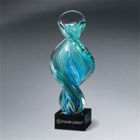 Art Glass Spiral Award on Black Glass Base