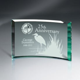 "Beveled Jade Glass Crescent Plaque Award (6"" x 4"" x 0.375"")"