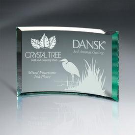 "Beveled Jade Glass Crescent Plaque Award (5"" x 7"")"