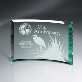 "Beveled Jade Glass Crescent Plaque Award (8"" x 6"" x 0.375"")"