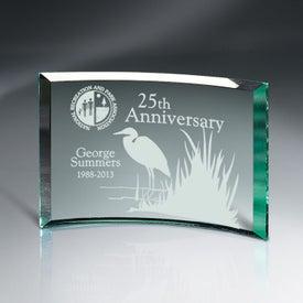"Beveled Jade Glass Crescent Plaque Award (6"" x 8"")"