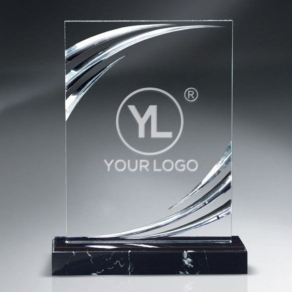 Clear / Black Diamond Carved Lucite Award on Marble