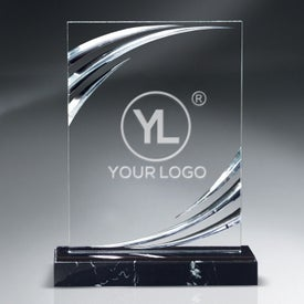 Diamond Carved Lucite Award on Marble