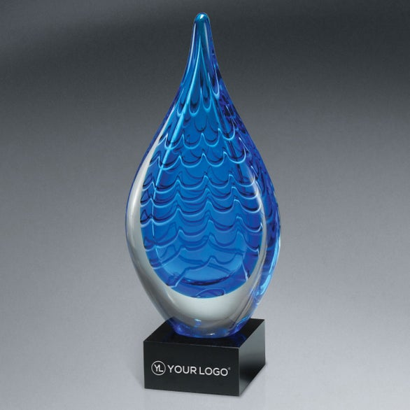 Indigo Blue / Black Indigo Stream Art Glass Award