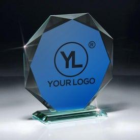 Jade Glass Octagon Award on Base