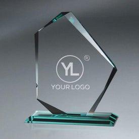 Jade Glass Slant Peak Award on Base (Large)