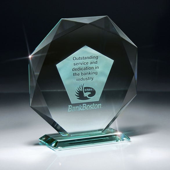 Clear Jade Impressions Octagon Award on Base