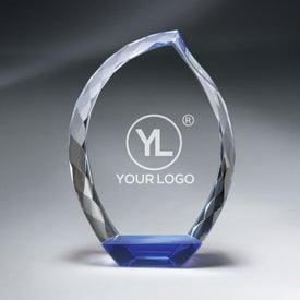 Optic Crystal Teardrop Award with Blue Bottom