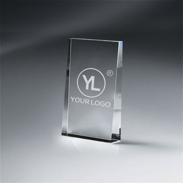 Clear Optic Crystal Wedge Award