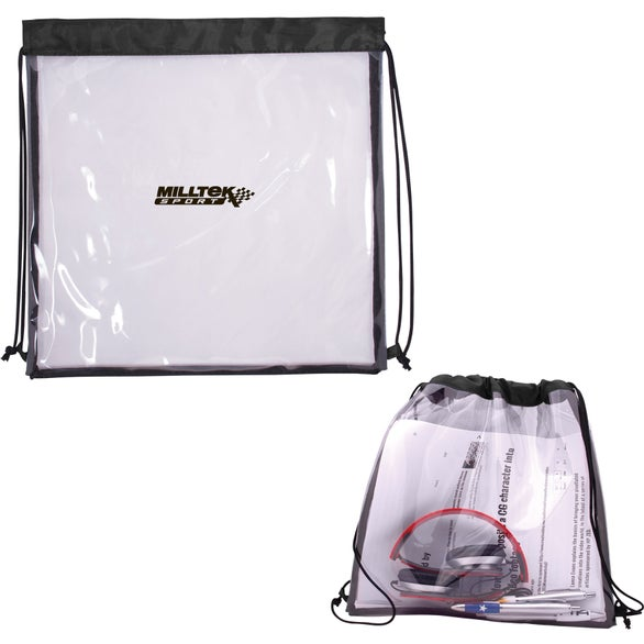 Clear / Black All Access Drawstring Backpack