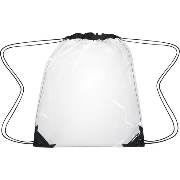 Clear / Black Clear Drawstring Backpack