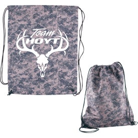 Digital Camo Nonwoven Drawstring Cinch-Up Backpack