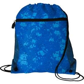Distressed Printed Mesh Pocket Drawstring Backpack