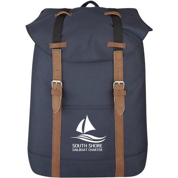 Navy Blue Flap Drawstring Backpack