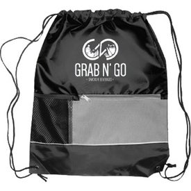 "Front Pocket Drawstring Backpack (18"" x 15"")"