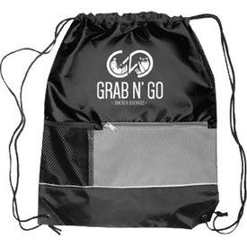 """Front Pocket Drawstring Backpack (18"""" x 15"""")"""