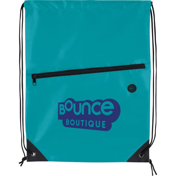Teal Front Zip Drawstring Backpack