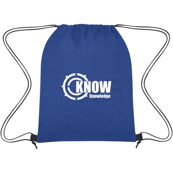 Royal Blue Heathered Non-Woven Drawstring Backpack