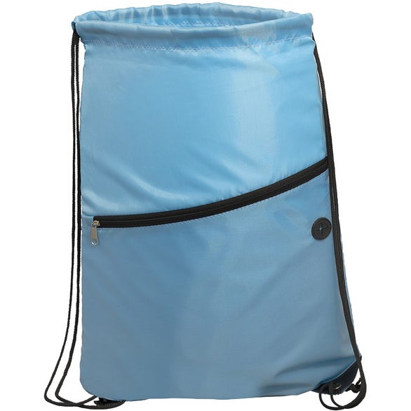 Carolina Blue Incline Drawstring Backpack with Zipper