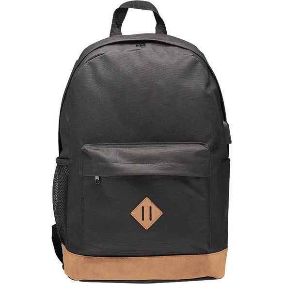 Black Laptop Backpack with USB Port