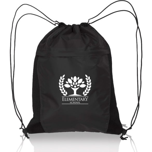 Black Mesh Accent Drawstring Backpack
