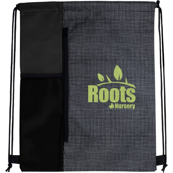 Charcoal / Black Non-Woven Vertical Drawstring Backpack