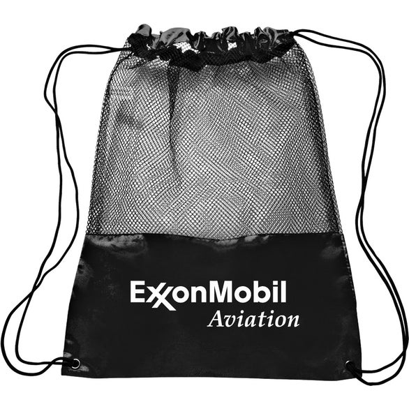 Black Polyester Mesh Drawstring Backpack