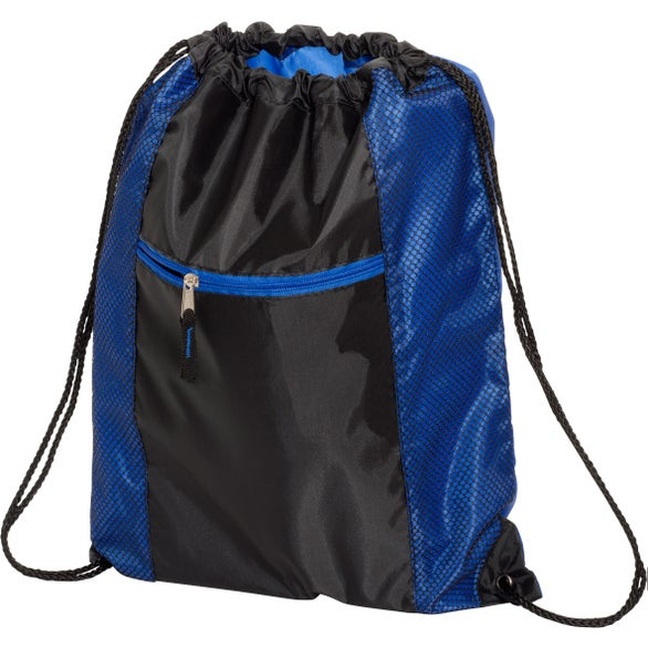 Blue / Black Porter Drawstring Backpack