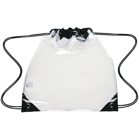 Clear / Black Touchdown Clear Drawstring Backpack