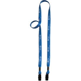 "1/2"" 2-Ended Dye-Sublimated Lanyard with Metal Crimp and Metal Bulldog Clip"