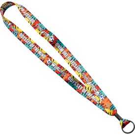 "3/4"" Dye-Sublimated Lanyard with Metal Crimp and Split-Ring"