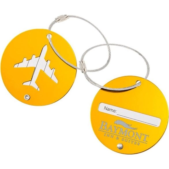 Orange Round Aluminum Luggage Tag with Airplane Cutout