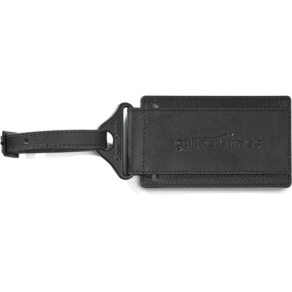 Black Samsonite Leather Luggage Tag