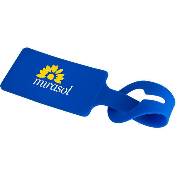 Blue Silicone Luggage Tag with ID Card