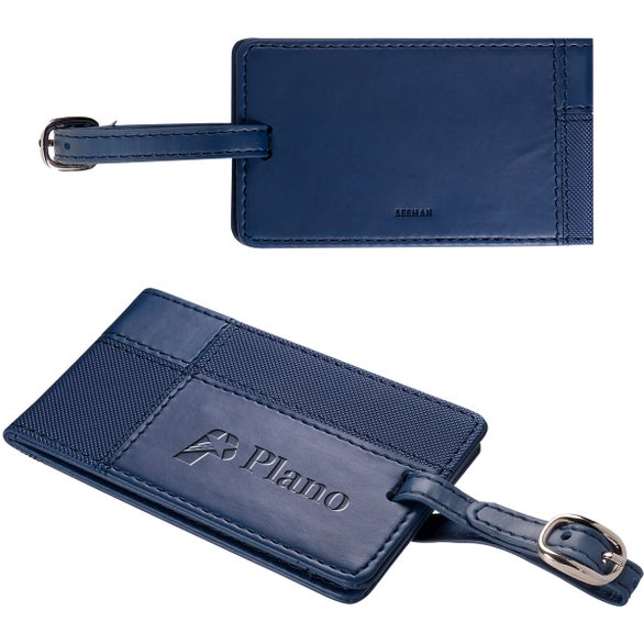 Navy Tuscany Duo-Textured Luggage Tag