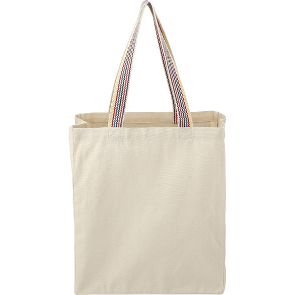 Natural Rainbow Recycled Cotton Grocery tote