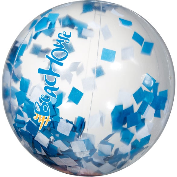 Clear with Blue and White Confetti Confetti Filled Round Beach Ball