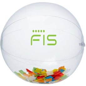"16"" Confetti Filled Round Clear Beach Ball (Multicolor)"