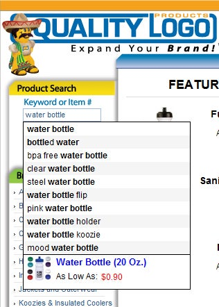 Screenshot of Search Function