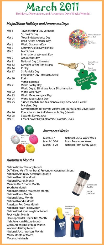 March 2011 Holidays, Observances, and Awareness Dates