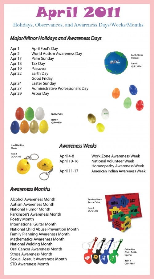 April Holidays, Observances, and Awareness Dates