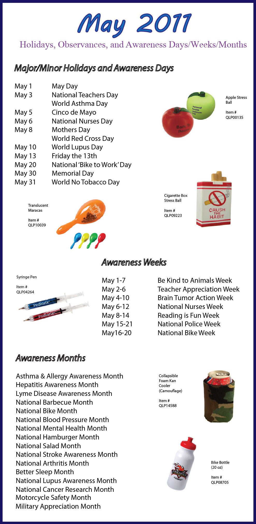 May 2011 Holidays, Observances, and Awareness Dates