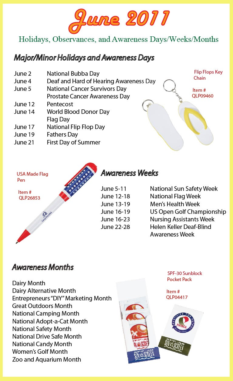 June 2011 Holidays, Observances, and Awareness Dates